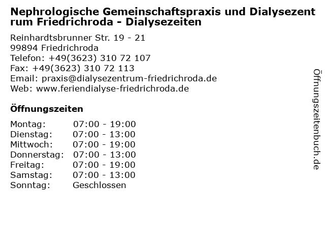 Nephrologische Gemeinschaftspraxis und Dialysezentrum Friedrichroda - Dialysezeiten in Friedrichroda: Adresse und Öffnungszeiten