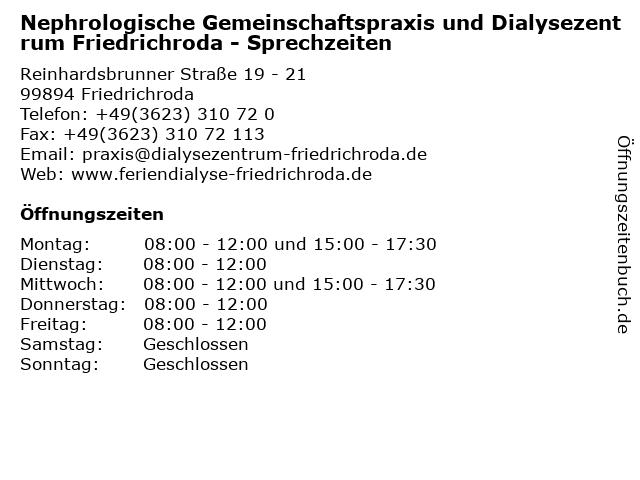 Nephrologische Gemeinschaftspraxis und Dialysezentrum Friedrichroda - Sprechzeiten in Friedrichroda: Adresse und Öffnungszeiten