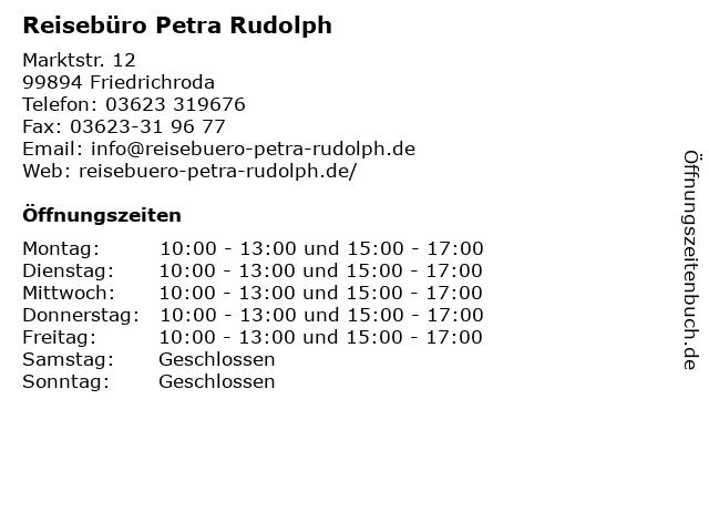 Reisebüro Petra Rudolph in Friedrichroda: Adresse und Öffnungszeiten