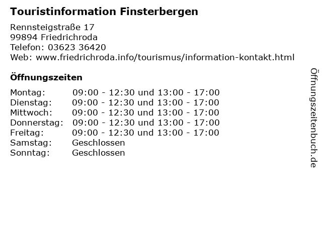 Touristinformation Finsterbergen in Friedrichroda: Adresse und Öffnungszeiten