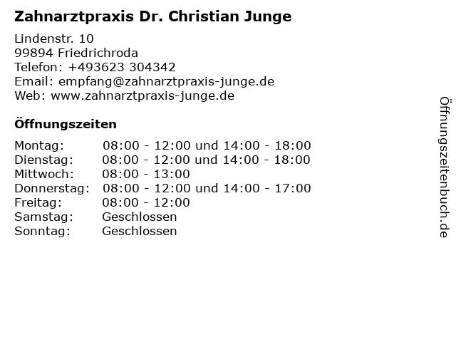 Zahnarztpraxis Dr. Christian Junge in Friedrichroda: Adresse und Öffnungszeiten
