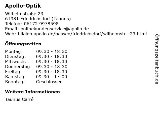 Apollo-Optik Holding GmbH & Co. KG in Friedrichsdorf (Taunus): Adresse und Öffnungszeiten