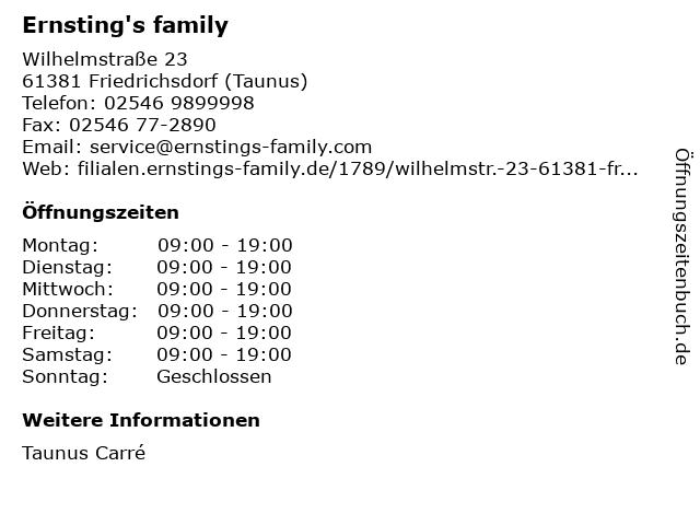 Ernsting's family in Friedrichsdorf (Taunus): Adresse und Öffnungszeiten