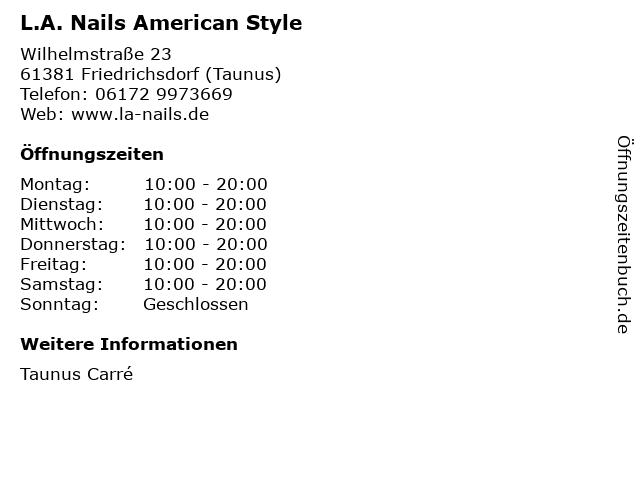 L.A. Nails American Style in Friedrichsdorf (Taunus): Adresse und Öffnungszeiten