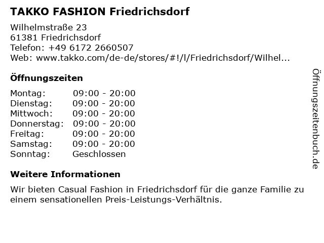 Takko Fashion in Friedrichsdorf (Taunus): Adresse und Öffnungszeiten