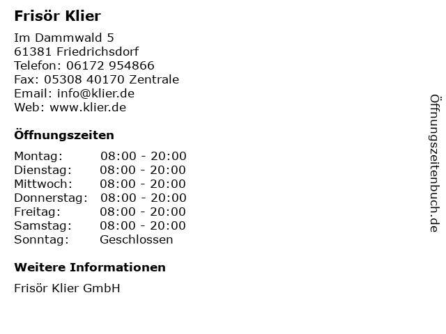 Frisör Klier GmbH in Friedrichsdorf: Adresse und Öffnungszeiten