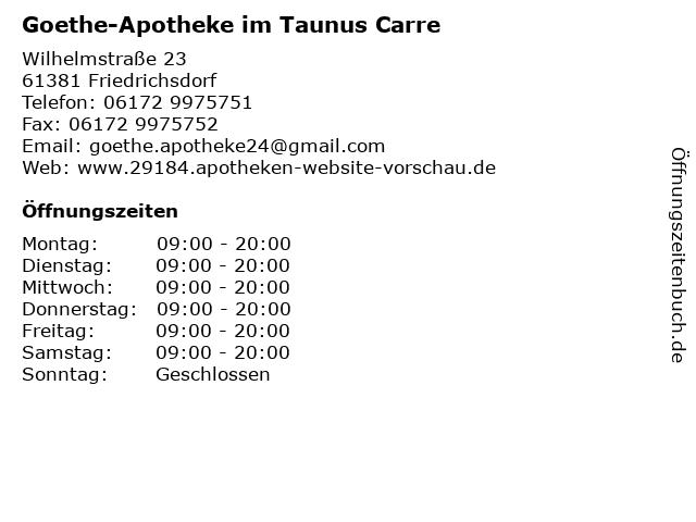 Goethe-Apotheke in Friedrichsdorf (Taunus): Adresse und Öffnungszeiten