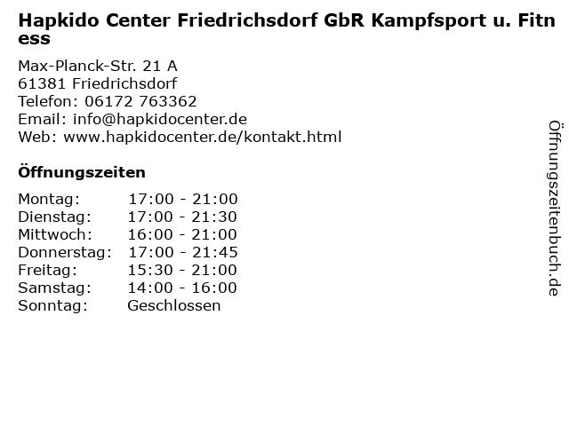 ᐅ Offnungszeiten Hapkido Center Friedrichsdorf Gbr Kampfsport U Fitness Max Planck Str 21 A In Friedrichsdorf