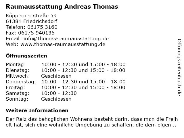 Andreas Thomas Raumausstattung in Friedrichsdorf: Adresse und Öffnungszeiten