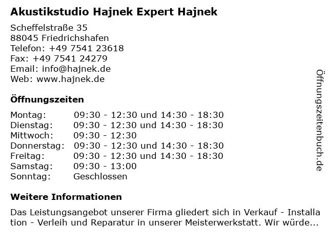 Akustikstudio Hajnek Expert Hajnek in Friedrichshafen: Adresse und Öffnungszeiten