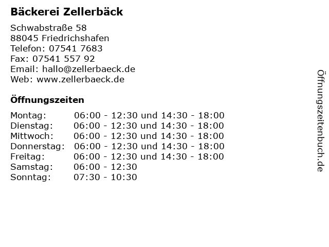 Bäckerei Zellerbäck in Friedrichshafen: Adresse und Öffnungszeiten