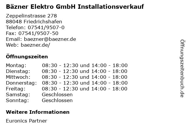 Bäzner Elektro GmbH Installationsverkauf in Friedrichshafen-Fischbach: Adresse und Öffnungszeiten