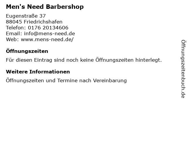 Men's Need Barbershop in Friedrichshafen: Adresse und Öffnungszeiten