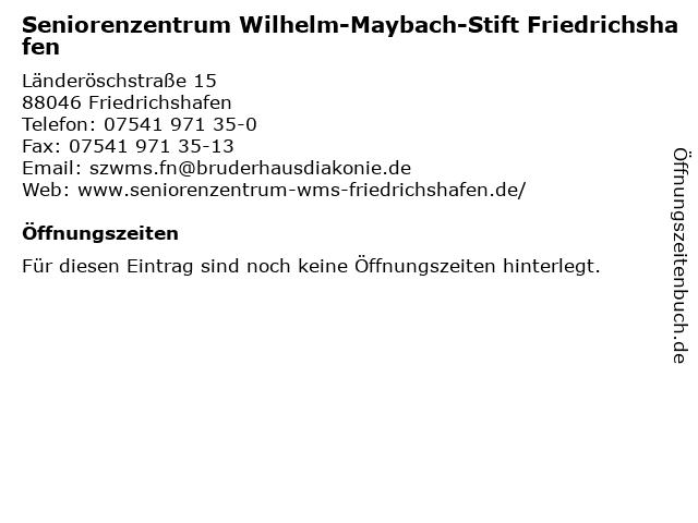 """ᐅ Öffnungszeiten """"seniorenzentrum wilhelm-maybach-stift"""
