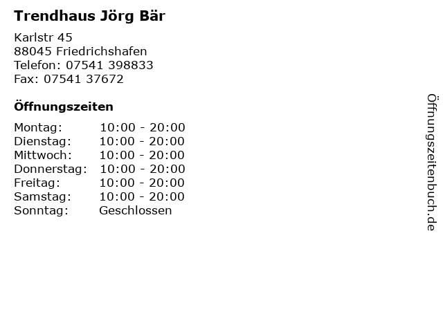 Trendhaus Jörg Bär in Friedrichshafen: Adresse und Öffnungszeiten
