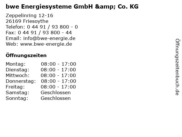 bwe Energiesysteme GmbH & Co. KG in Friesoythe: Adresse und Öffnungszeiten