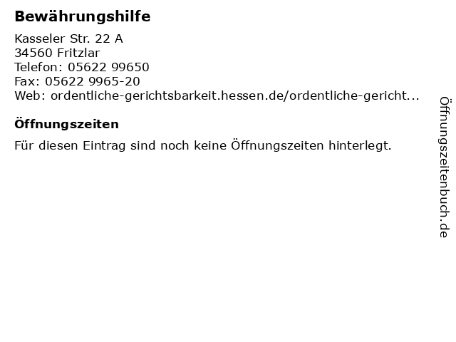 Bewährungshilfe in Fritzlar: Adresse und Öffnungszeiten