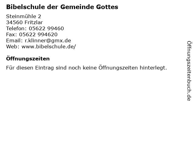 Bibelschule der Gemeinde Gottes in Fritzlar: Adresse und Öffnungszeiten