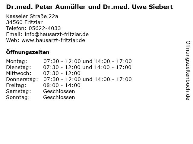 Dr.med. Peter Aumüller und Dr.med. Uwe Siebert in Fritzlar: Adresse und Öffnungszeiten