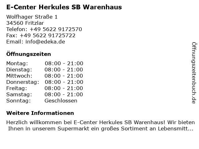 E-Center Herkules SB Warenhaus in Fritzlar: Adresse und Öffnungszeiten