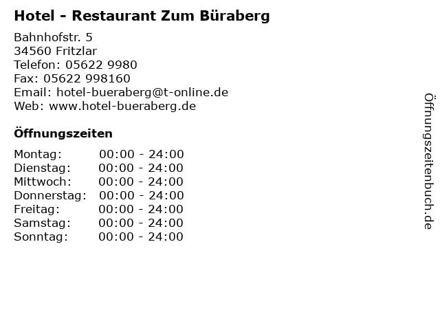 Hotel - Restaurant Zum Büraberg in Fritzlar: Adresse und Öffnungszeiten