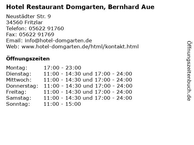 Hotel Restaurant Domgarten, Bernhard Aue in Fritzlar: Adresse und Öffnungszeiten