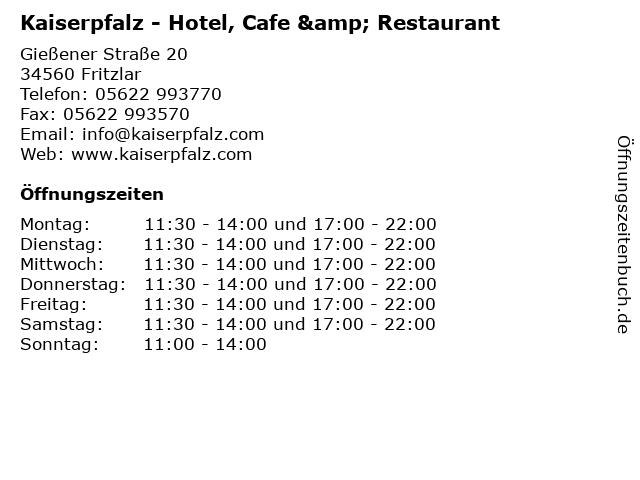Kaiserpfalz - Hotel, Cafe & Restaurant in Fritzlar: Adresse und Öffnungszeiten