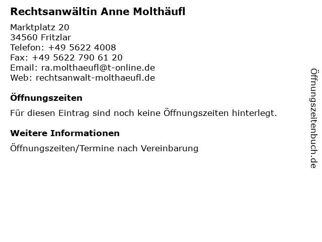 Rechtsanwältin Anne Molthäufl in Fritzlar: Adresse und Öffnungszeiten