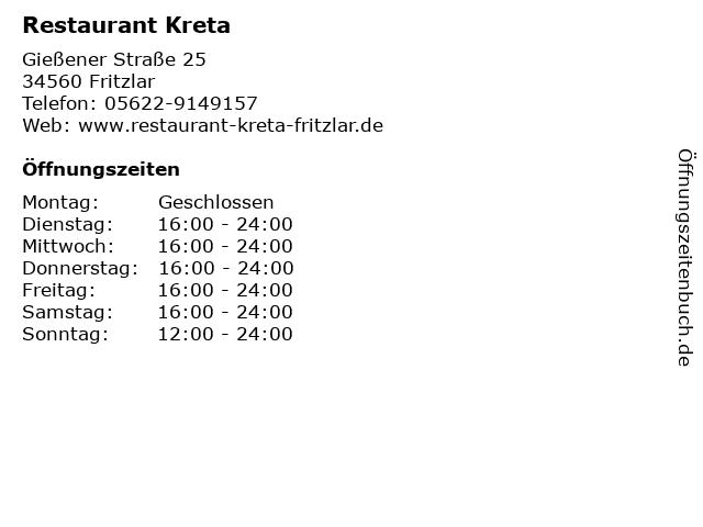 Restaurant Kreta in Fritzlar: Adresse und Öffnungszeiten