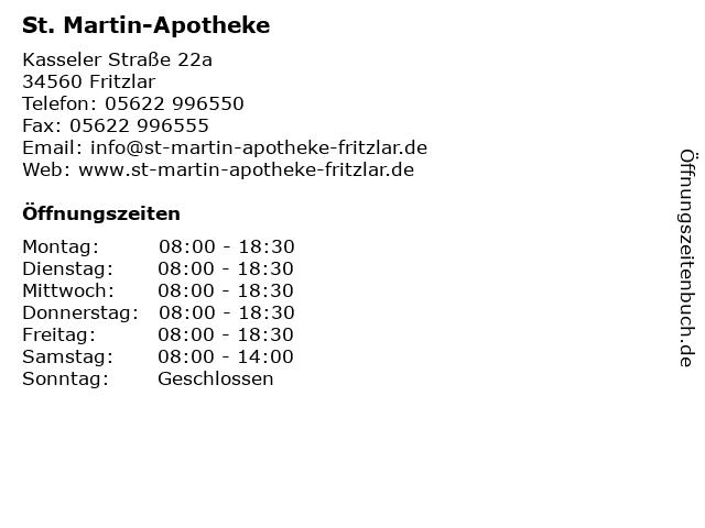 St. Martin-Apotheke in Fritzlar: Adresse und Öffnungszeiten