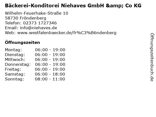 Bäckerei-Konditorei Niehaves GmbH & Co KG in Fröndenberg: Adresse und Öffnungszeiten