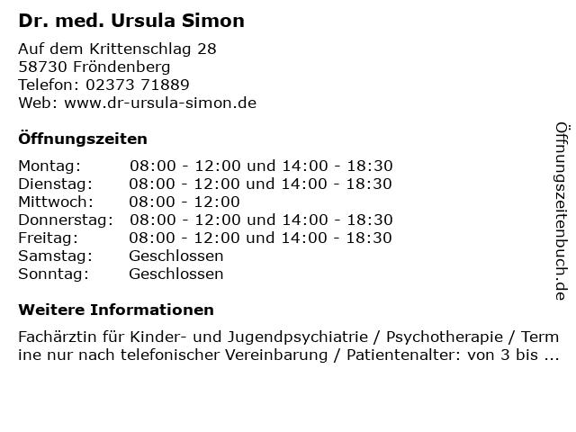 Dr. med. Ursula Simon in Fröndenberg: Adresse und Öffnungszeiten