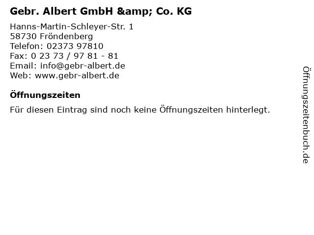 Gebr. Albert GmbH & Co. KG in Fröndenberg: Adresse und Öffnungszeiten