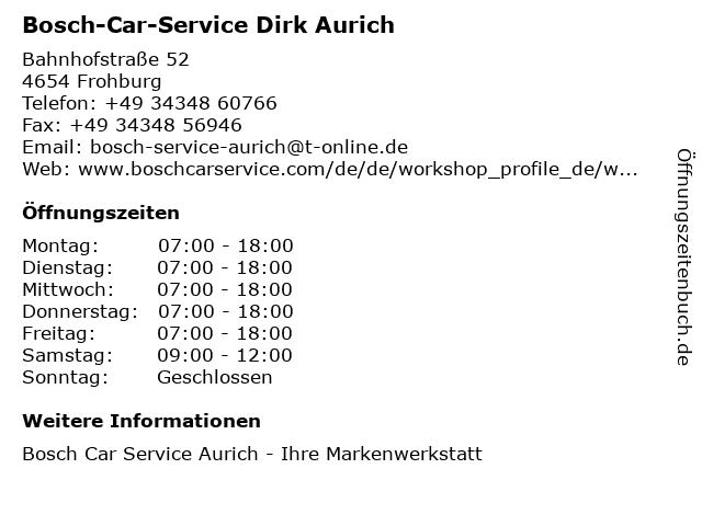 Bosch-Car-Service Dirk Aurich in Frohburg: Adresse und Öffnungszeiten
