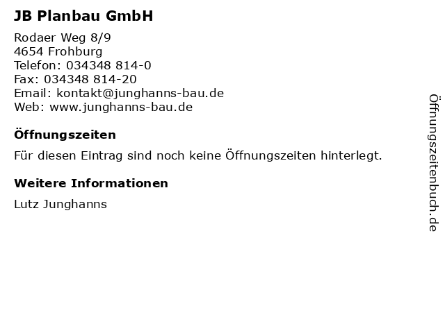 JB Planbau GmbH in Frohburg: Adresse und Öffnungszeiten