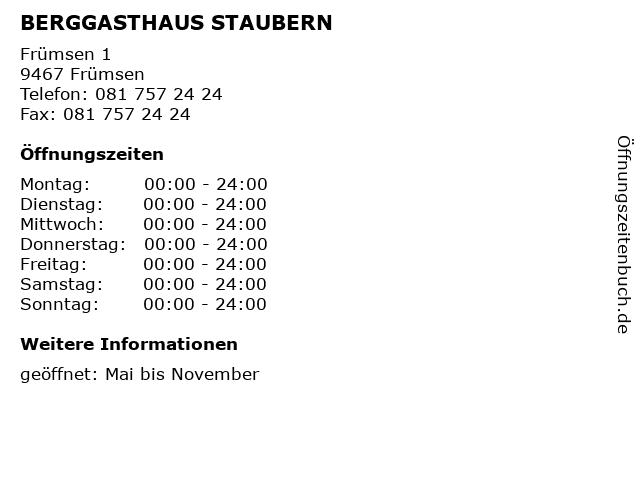 BERGGASTHAUS STAUBERN in Frümsen: Adresse und Öffnungszeiten