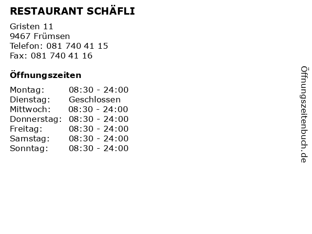 RESTAURANT SCHÄFLI in Frümsen: Adresse und Öffnungszeiten