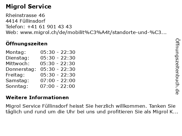 Migrol Service in Füllinsdorf: Adresse und Öffnungszeiten