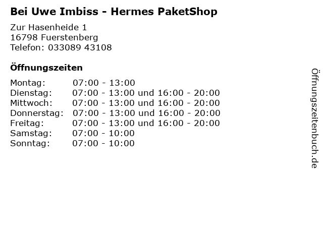 Bei Uwe Imbiss - Hermes PaketShop in Fuerstenberg: Adresse und Öffnungszeiten
