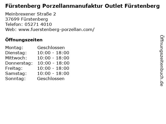 Fürstenberg Porzellanmanufaktur Outlet Fürstenberg in Fürstenberg: Adresse und Öffnungszeiten