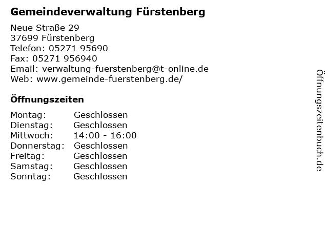 Gemeindeverwaltung Fürstenberg in Fürstenberg: Adresse und Öffnungszeiten