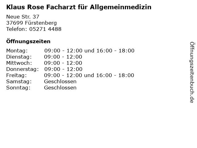 Klaus Rose Facharzt für Allgemeinmedizin in Fürstenberg: Adresse und Öffnungszeiten