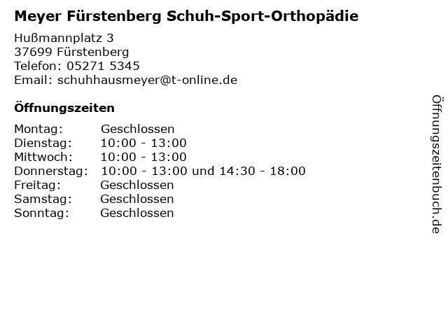 Meyer Fürstenberg Schuh-Sport-Orthopädie in Fürstenberg: Adresse und Öffnungszeiten