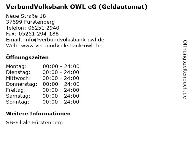 VerbundVolksbank OWL eG (Geldautomat) in Fürstenberg: Adresse und Öffnungszeiten