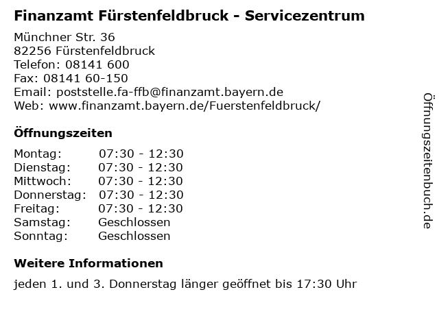 Á… Offnungszeiten Finanzamt Furstenfeldbruck Servicezentrum Munchner Str 36 In Furstenfeldbruck