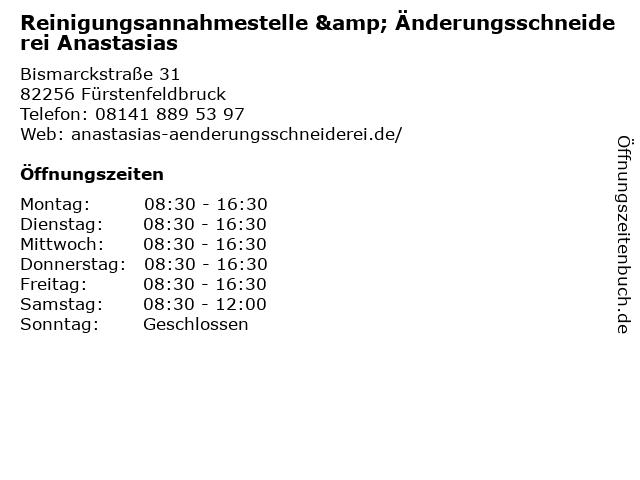 Reinigungsannahmestelle & Änderungsschneiderei Anastasias in Fürstenfeldbruck: Adresse und Öffnungszeiten