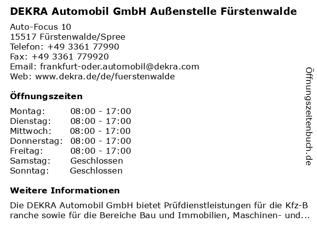 DEKRA Automobil GmbH Außenstelle Fürstenwalde in Fürstenwalde/Spree: Adresse und Öffnungszeiten