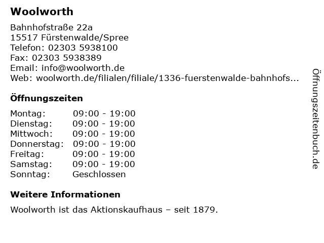 Woolworth in Fürstenwalde: Adresse und Öffnungszeiten