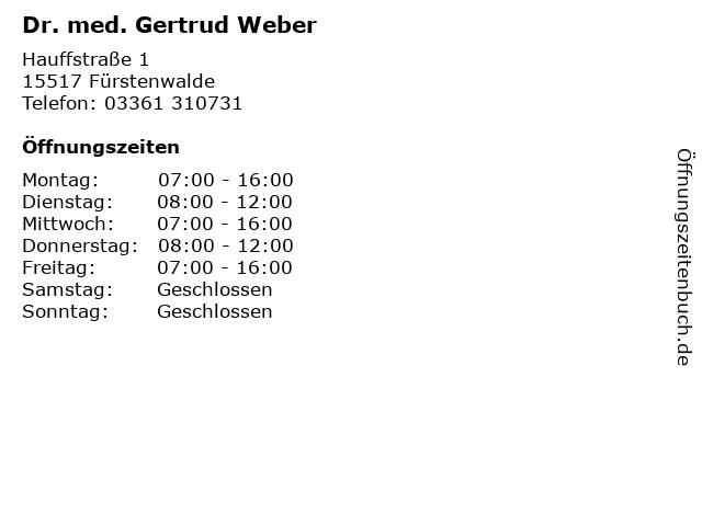 Dr. med. Gertrud Weber in Fürstenwalde: Adresse und Öffnungszeiten
