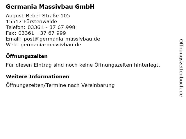 Germania Massivbau GmbH in Fürstenwalde: Adresse und Öffnungszeiten